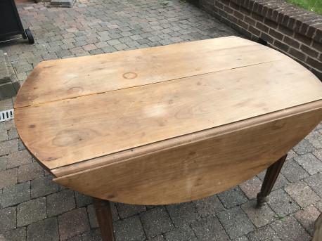 table ronde avec rallonges pliables ancien
