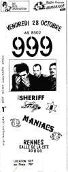 """28 octobre 1988 Maniacs, Sheriff, 999 à Rennes 'Salle de la Cité"""""""