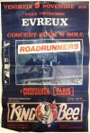 """9 novembre 1984 Roadrunners, Chihuahua, King Bees à Evreux """"Salle Omnisports"""""""