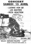 """13 avril 1985 Ludwig Von 88, les Maitres, Picol Reaction à Noisy le Grand """"Salle Gérard Philippe"""""""