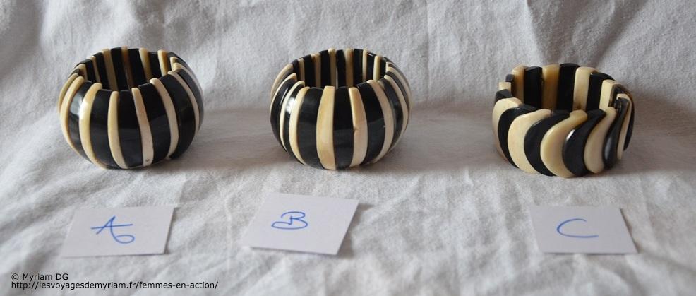 Bracelets en os et corne de zébu, 6€