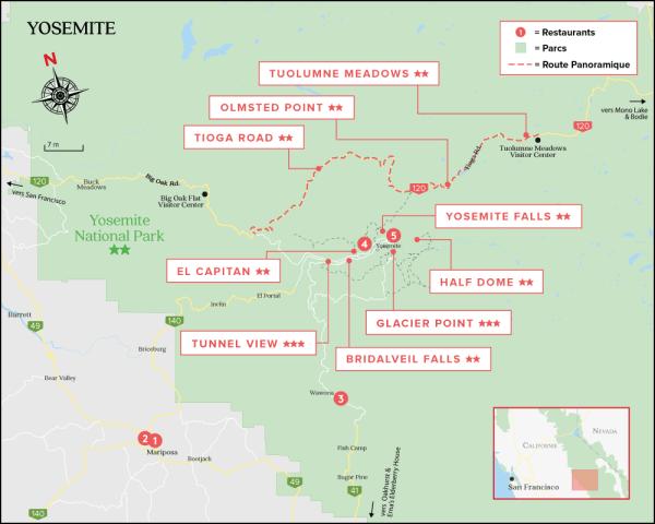 La carte du Parc National de Yosemite - Californie