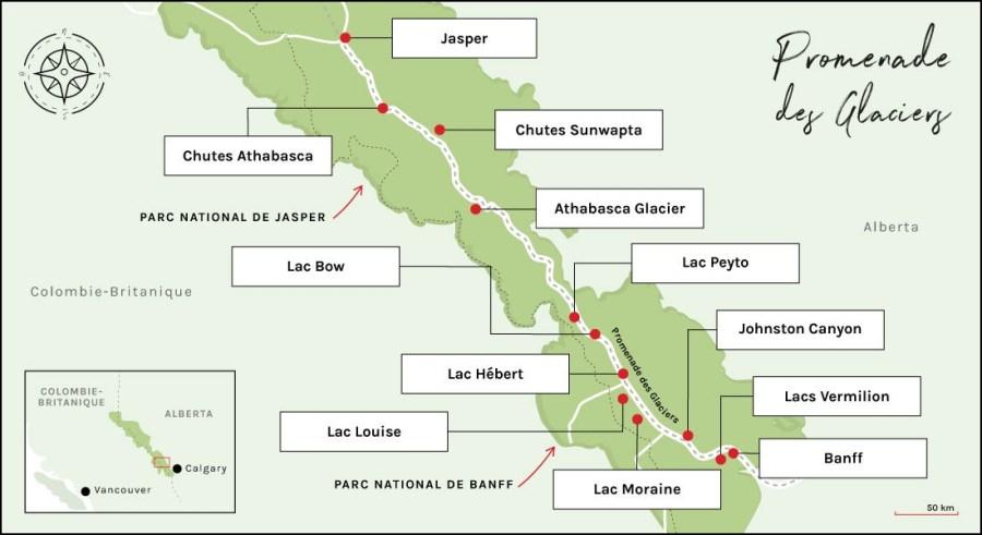 Carte promenade des glaciers - Rocheuses canadiennes