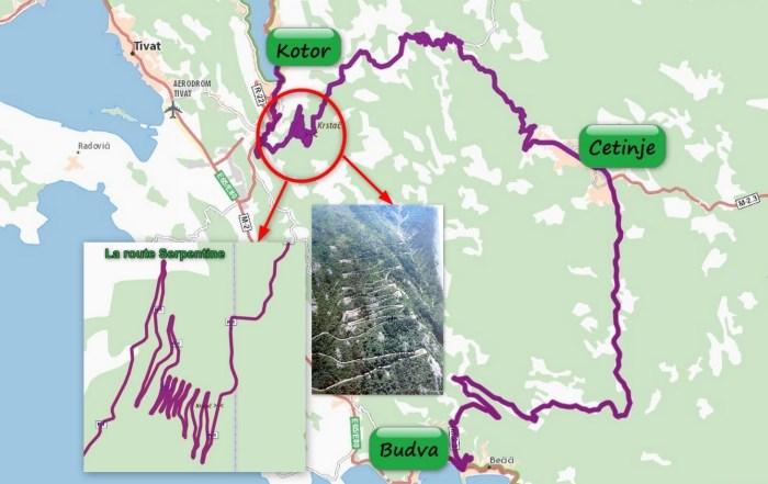 Carte itinéraire Kotor - Cetinje - Budva par la route Serpentine (Monténégro)
