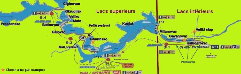 plan des lacs de Plitvice (Croatie)