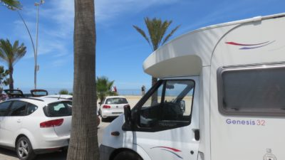 Notre camping-car sur la plage de Sanlucar de Barrameda