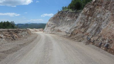 Travaux sur la route entre Njegusi et Cetinje - Monténégro