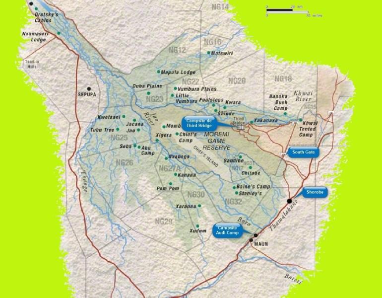 Itinéraire Campsite de Third Bridge à celui d'audi Camp - Botswana