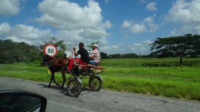 Charrette sur l'autoroute La Havane - Vinales (Cuba)