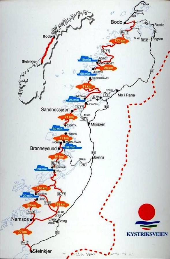 La route nationale et touristique 17 en Norvège