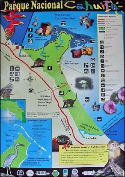 Le plan du parc national de Cahuita - Costa Rica