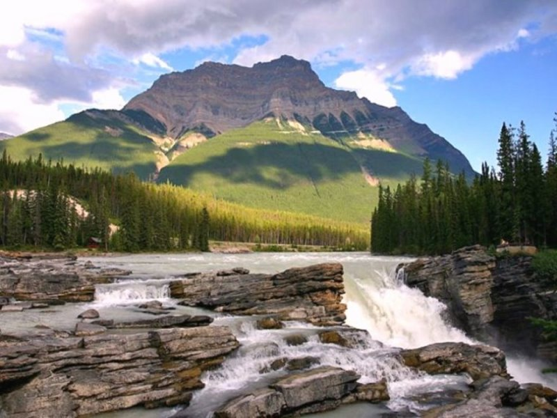 Mt. Kerkeslin and Athabasca Falls