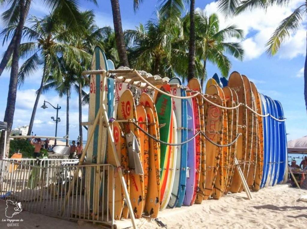 Surf à Waikiki et location de planche sur la plage de Waikiki dans notre article Waikiki à Hawaii en 10 coups de coeur : destination plage et surf d'Oahu #waikiki #hawaii #oahu #voyage #surf #plage