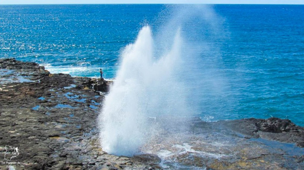 Le Spouting Horn, à visiter à Kauai à Hawaii dans notre article sur Visiter Kauai à Hawaii : 12 incontournables à faire sur l'île de Kauai #kauai #hawaii #voyage #usa #ile #iledekauai #kauaihawaii #sprout