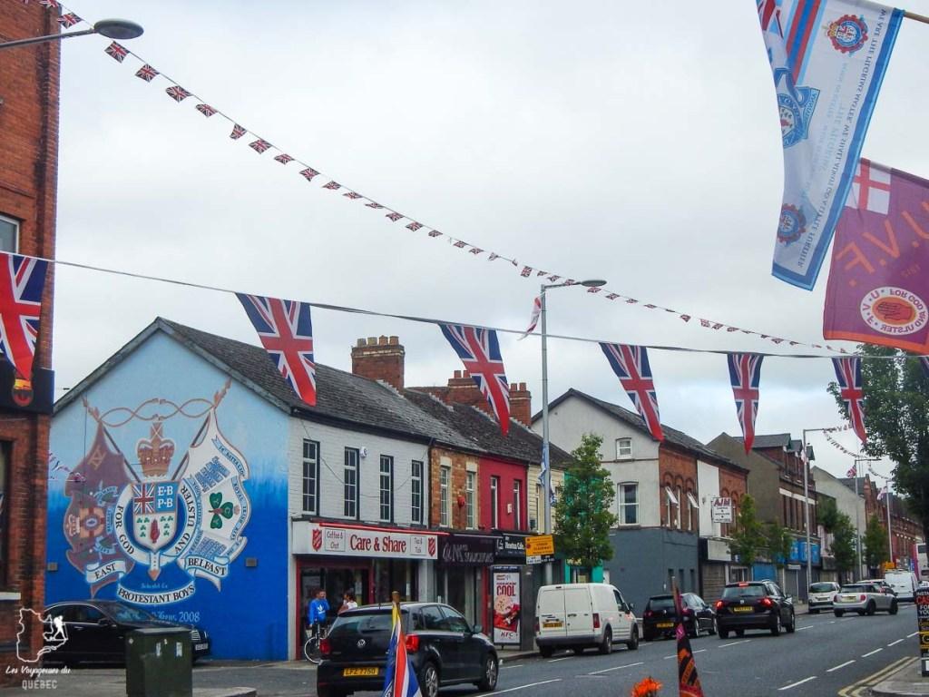 Quartier unioniste de Belfast en Irlande du Nord dans notre article Visiter Belfast en Irlande du Nord : que faire à Belfast, un musée à ciel ouvert #belfast #irlandedunord #royaumeunis #voyage #citytrip #europe