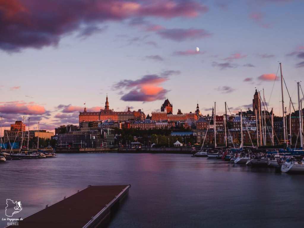 Photographier la ville de Québec à partir du Bassin Louise dans notre article Visiter Québec à travers ses plus beaux points de vue : 12 endroits où photographier la ville de Québec #quebec #villedequebec #canada #photographie