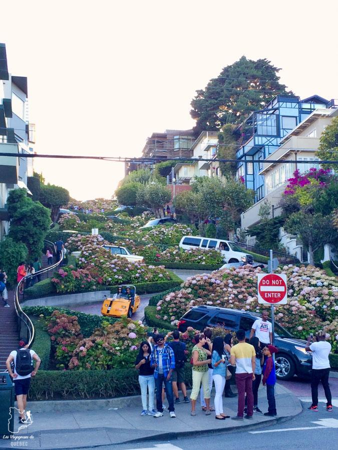 Rue en zigzag Lombard Street à San Francisco dans notre article Que voir à San Francisco aux USA : ma découverte de la ville en 7 jours #sanfrancisco #californie #usa #etatsunis #voyage