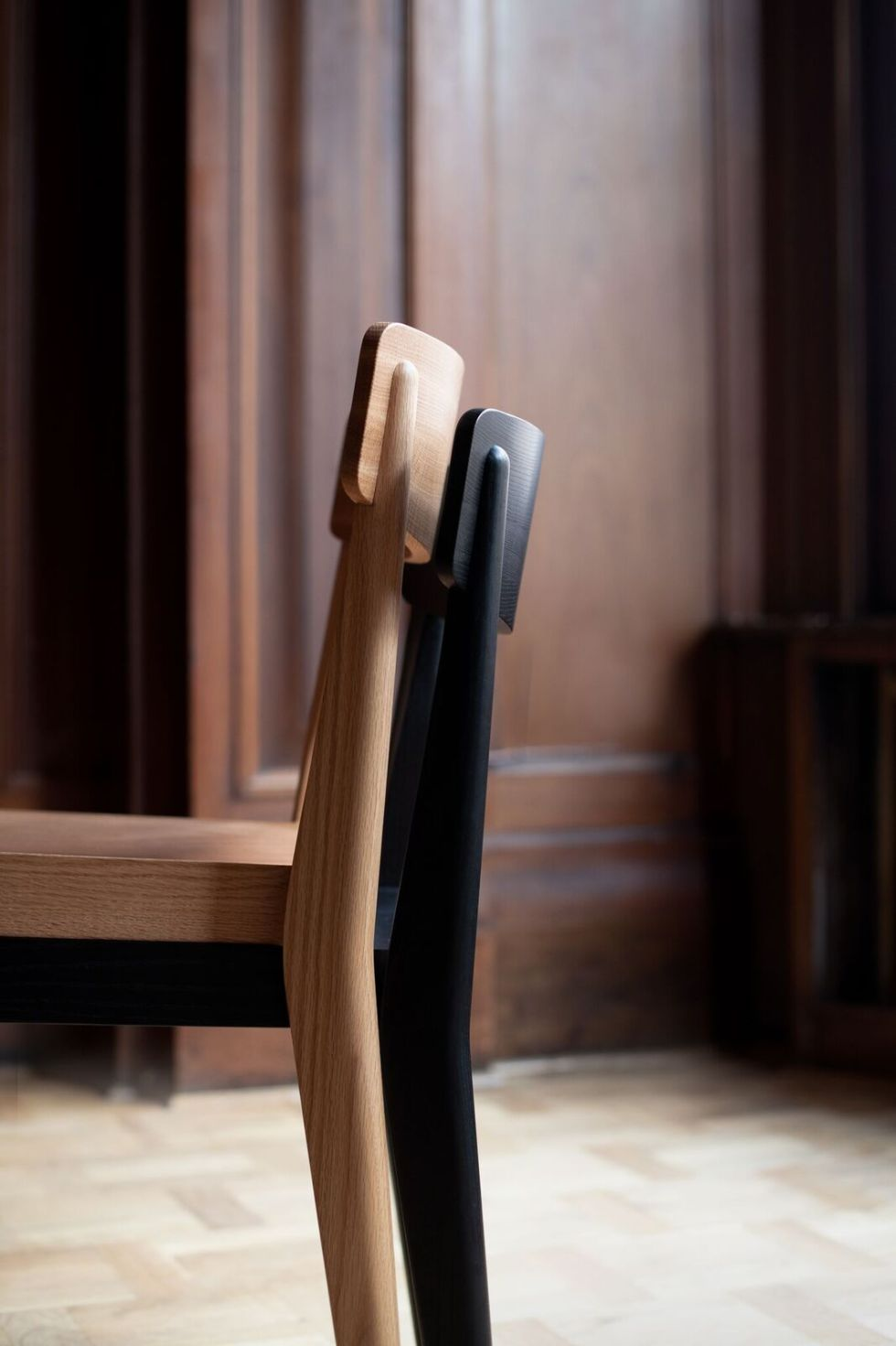oak and sumi les vrais carved chairs