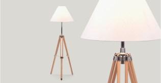 Navy, lampadaire tripode en bois naturel - 89 €