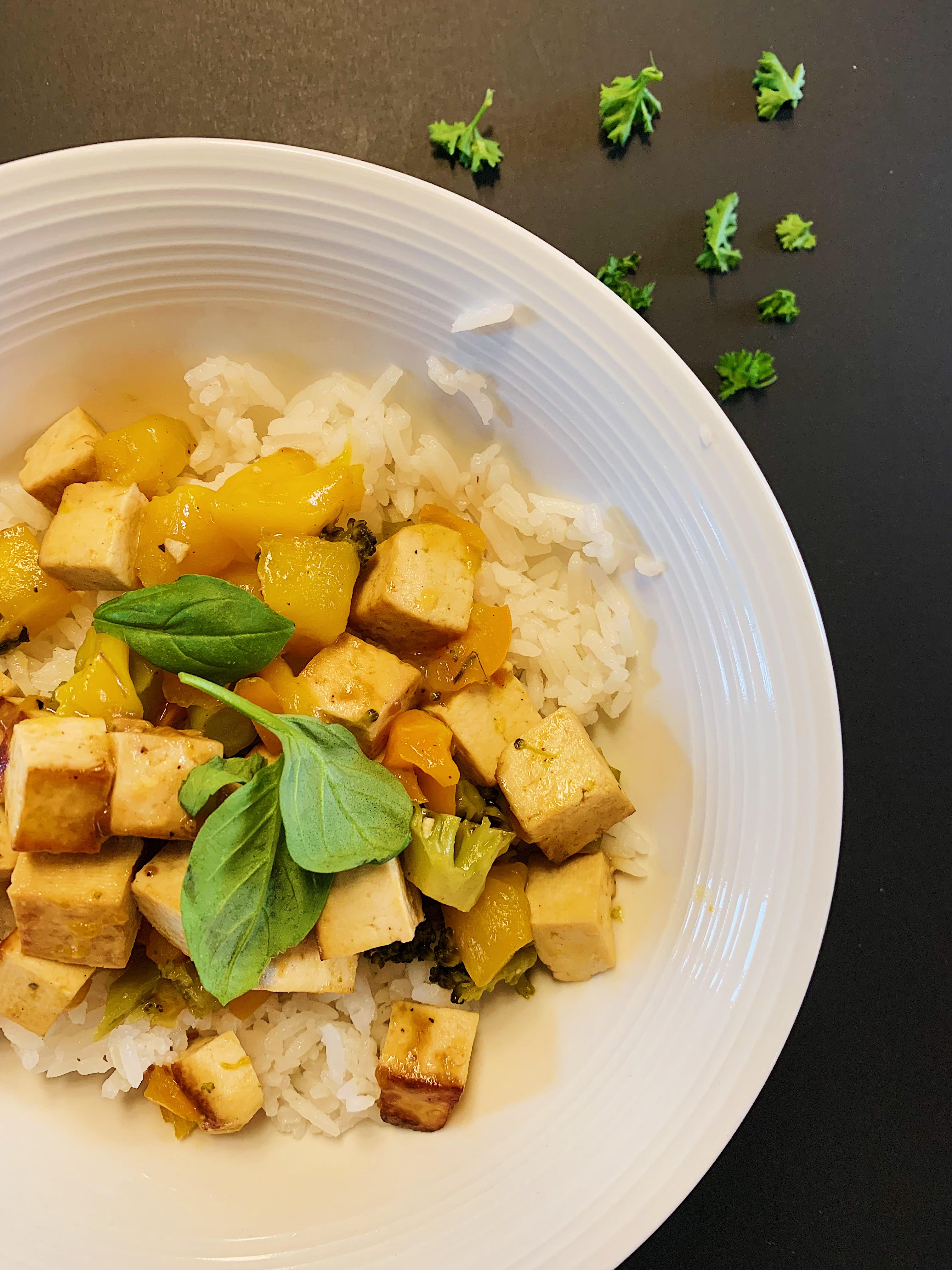 Tofu mariné à l'ananas