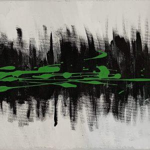 Toile abstraite (grise et verte)