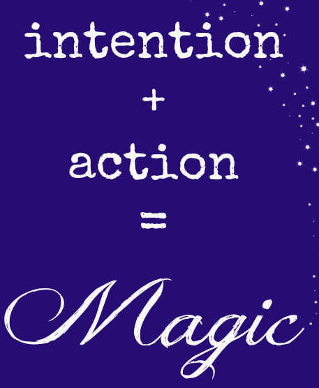 "Formule Magique écrite en blanc sur un fond bleue foncé: "" Intention + Action = Magic """