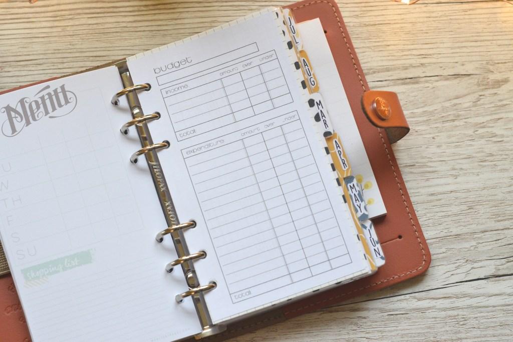 budget planning filofax