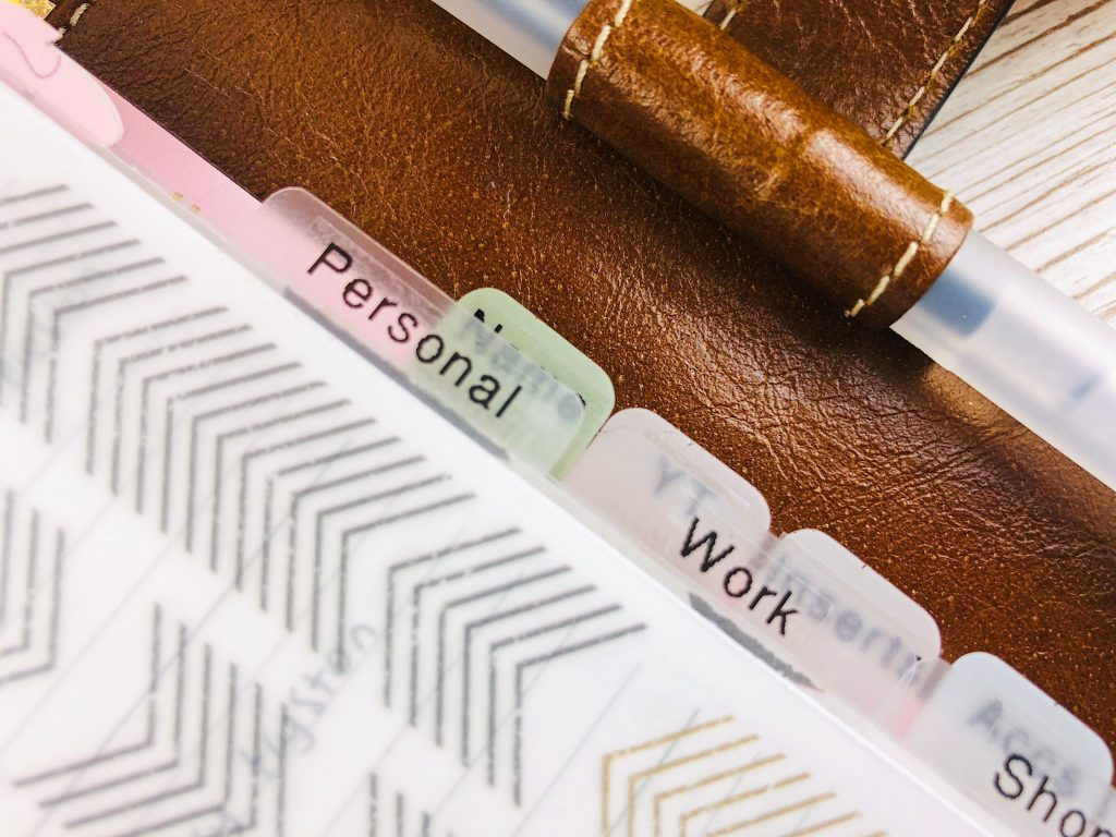 filofax frosted dividers