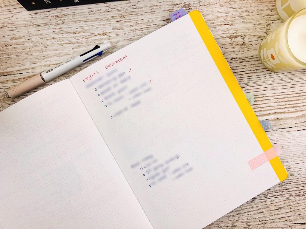 work bullet journal set up