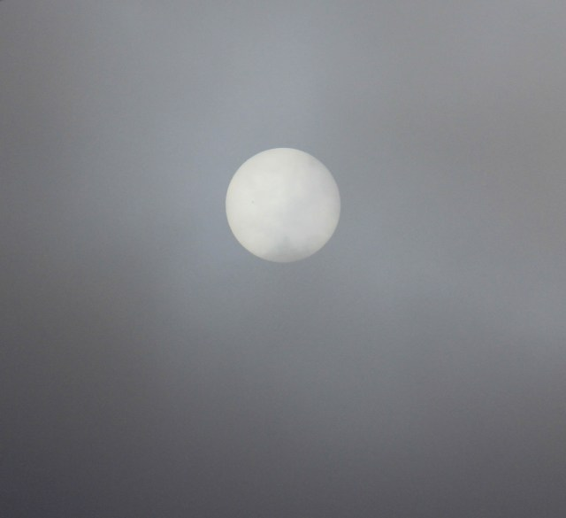 Even the Sun looks cold - trying to burn through the overcast sky.