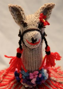 Meet Flo the flirty llama from the top of the Andean Dreams Tea-cozy.