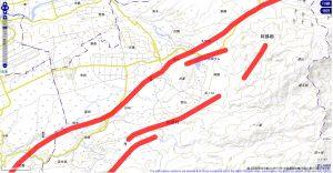 西原村 活断層マップ