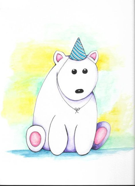 Birthday Bear Painting by Letitia Pfinder