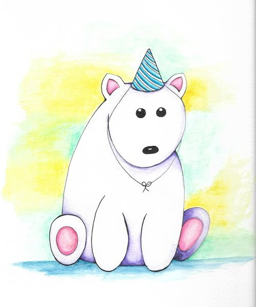 Birthday Bear Painting by Letitia Pfinder