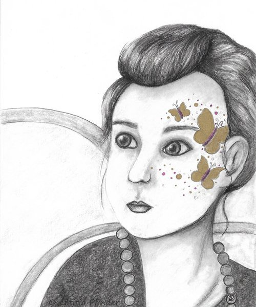 Butter Fly Girl was drawn by Letitia Pfinder