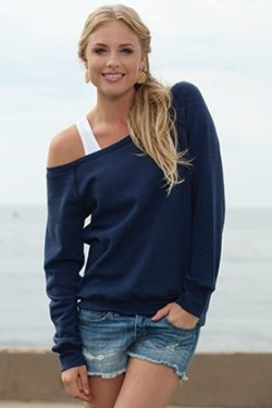 7501 BELLA+CANVAS® Sponge Fleece Wide Neck Sweatshirt in True Royal