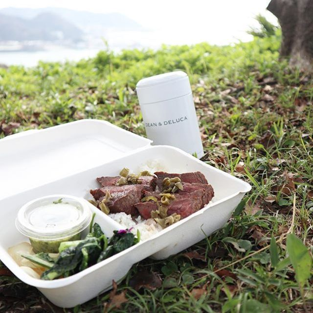山の上でステーキ弁当🥩次はお肉増量しよう。シソのソースはやっぱりうまい! (Instagram)
