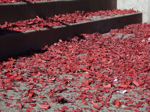 Red firecracker paper...like red leaves of fall!
