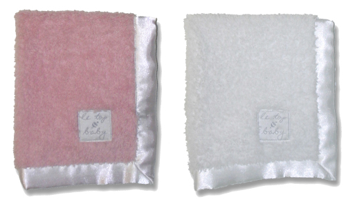 le•top baby: 12x14 soft soft security blanket in Pink and White