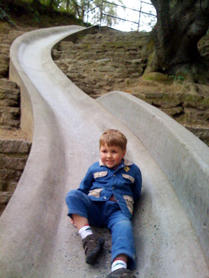 My grandson Otto on the cement slide in Berkeley, CA