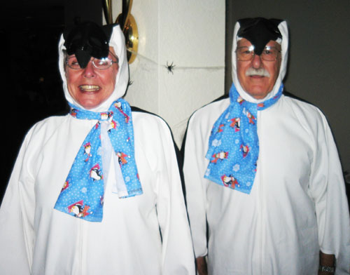 Nana and Peepaw as Penguins this past Halloween