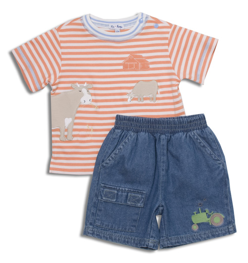 SunnyHill Farm shirt and short set available for boys in sizes 3 months to 4 toddler. E-I-E-I OH BOY!