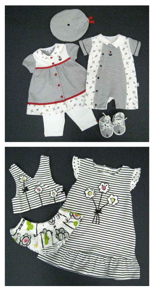 le•top baby: Anchors Aweigh (top) and le•top playwear Butterfly Wishes, both from le•top Spring 2009 Collection