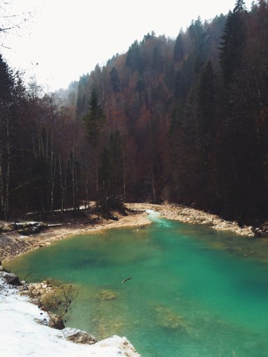 The Gorge in Garmisch, Germany. The most beautiful water I've seen in my entire life. Sitting amongst snow and red leaves, this short hike was well worth it.