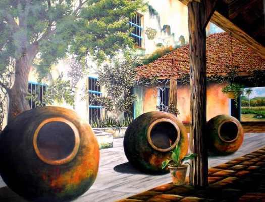 Pintura de un patio camagüeyano con sus tinajones típicos.
