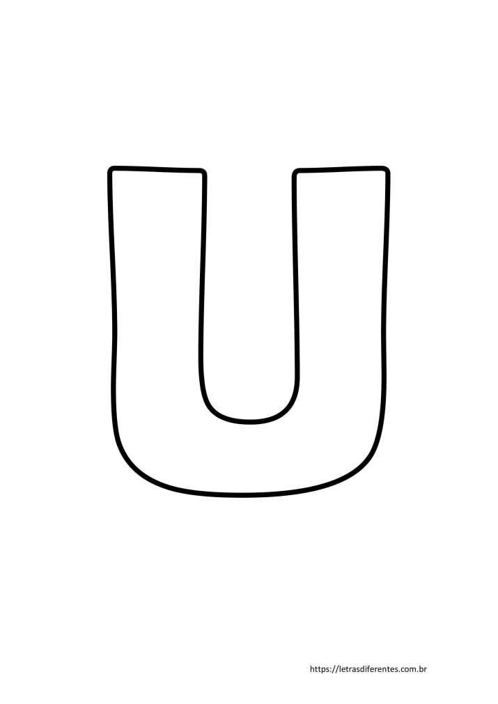 Letra U para imprimir grátis, moldes de letras