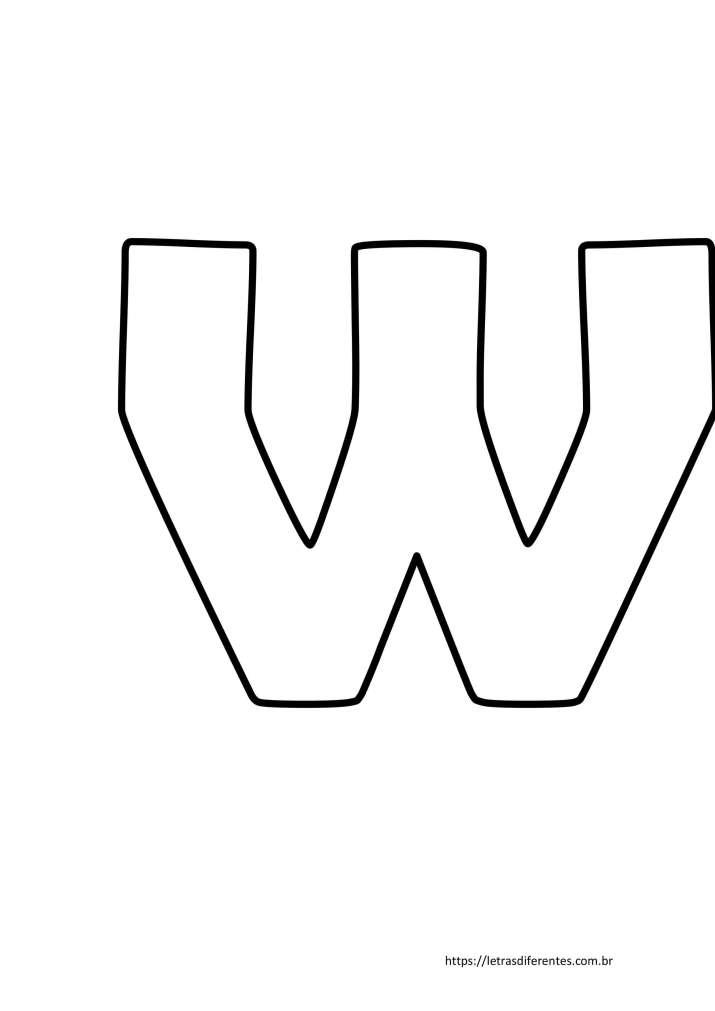 Letra W para imprimir grátis, moldes de letras