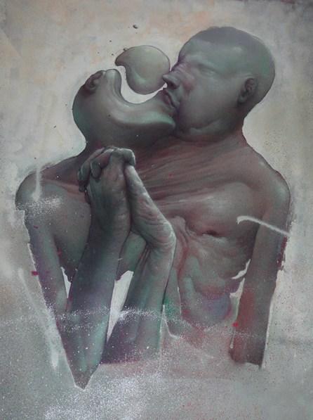 L'étrange Baiser | 97 x 130 cm | Spray paint on canvas | 2013