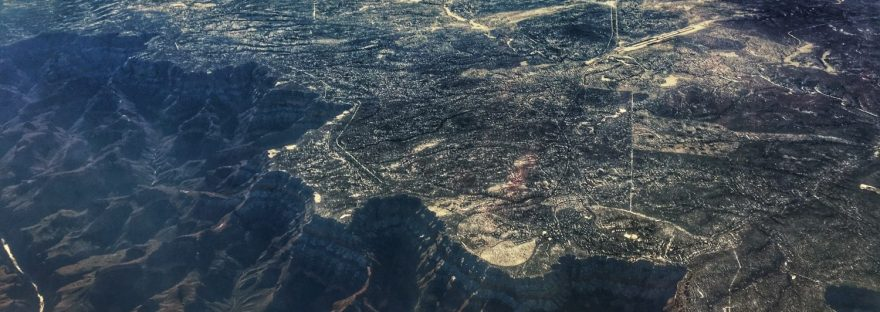 View of the Grand Canyon from the plane while flying from Atlanta to Las Vegas