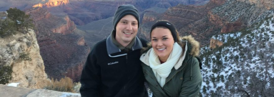 Picture of us and View of the sunset while hiking at the Grand Canyon
